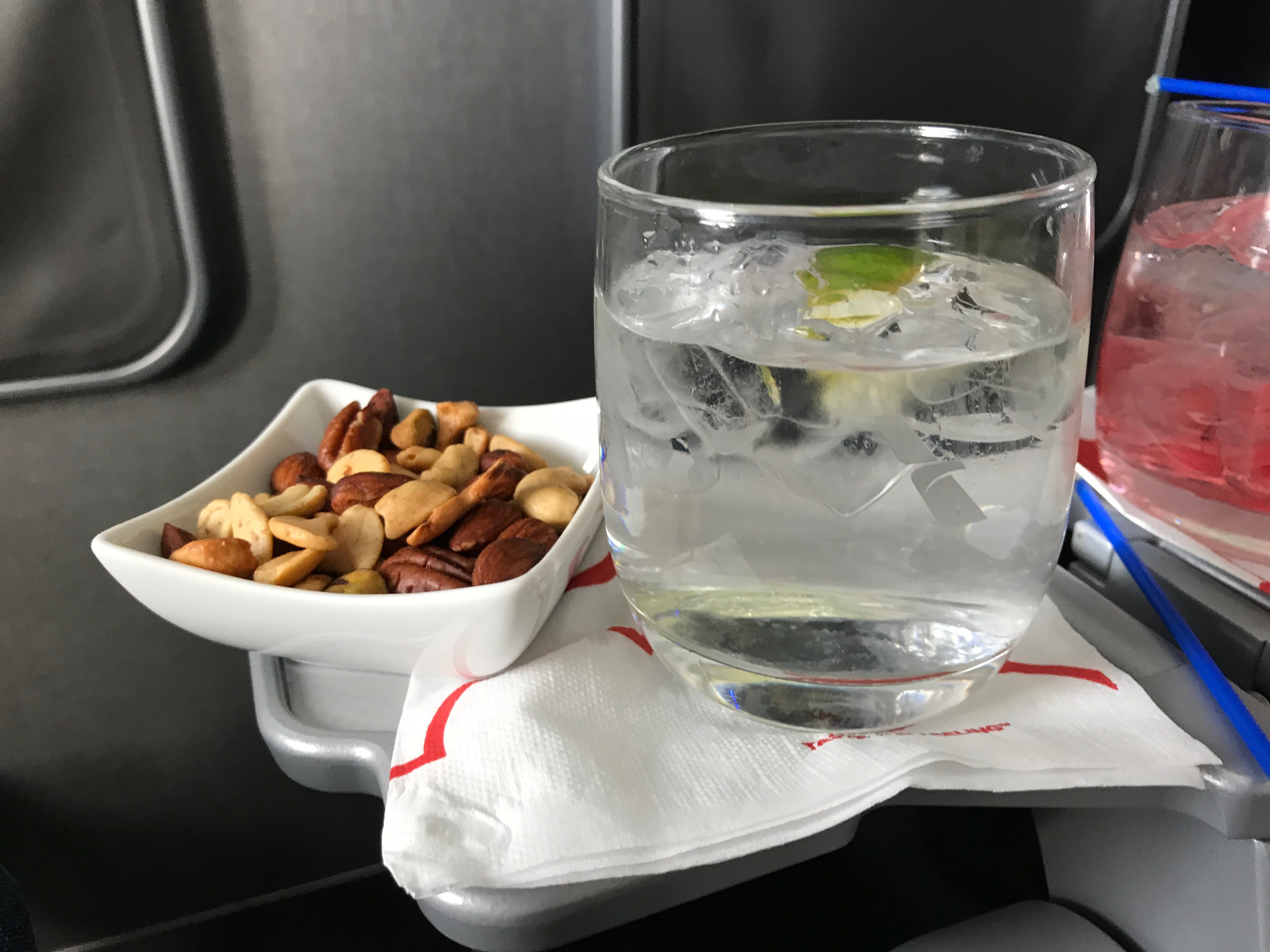 American Airlines Gin and Tonic with warmed nuts